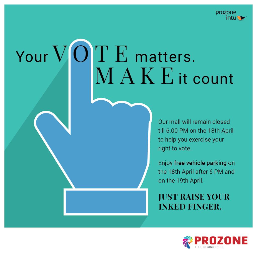 Every vote counts - Free vehicle parking in Prozone mall